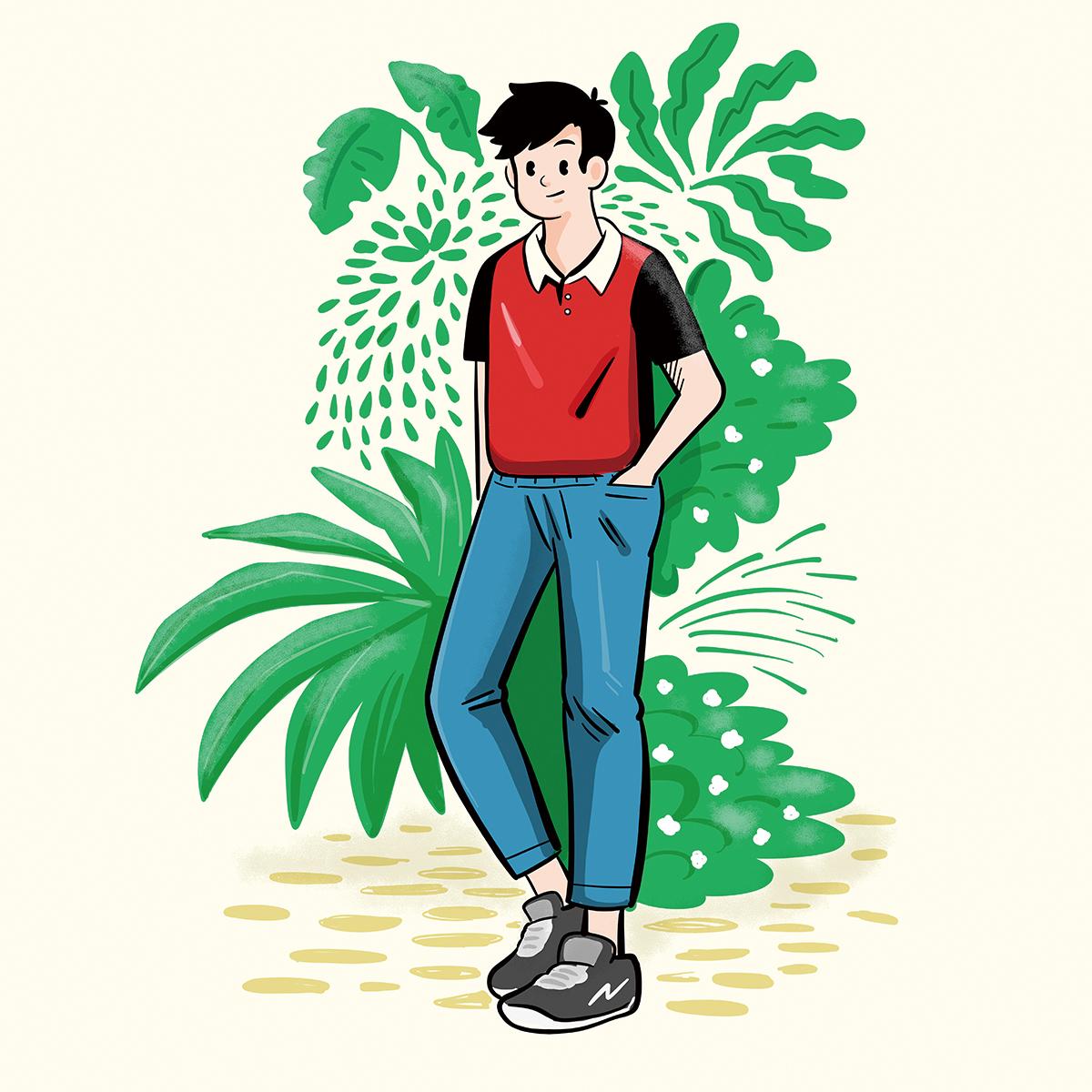 男性と植物