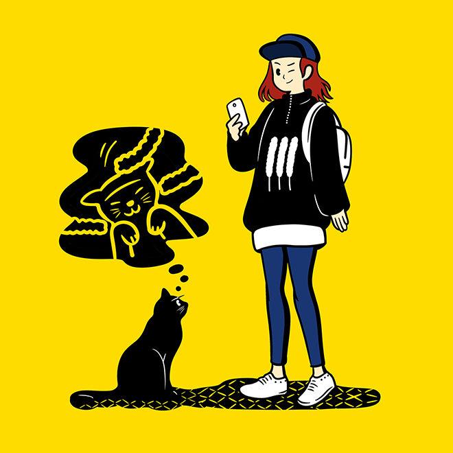 女の子と猫